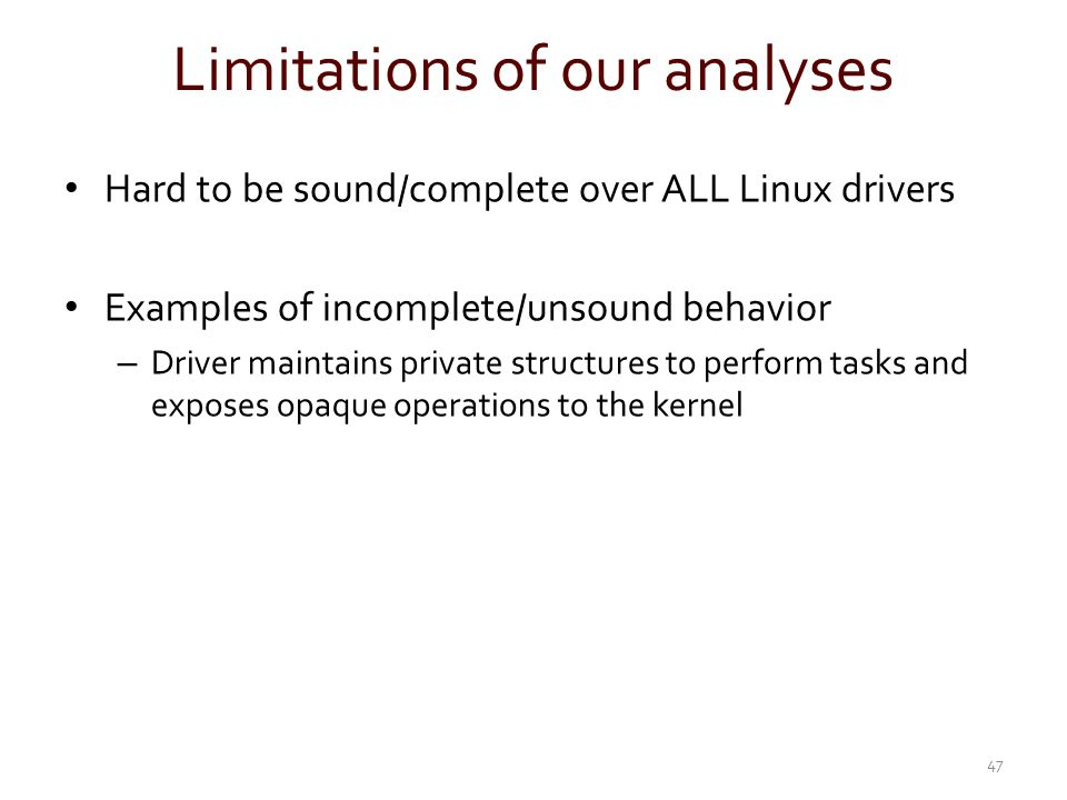 Limitations of our analyses