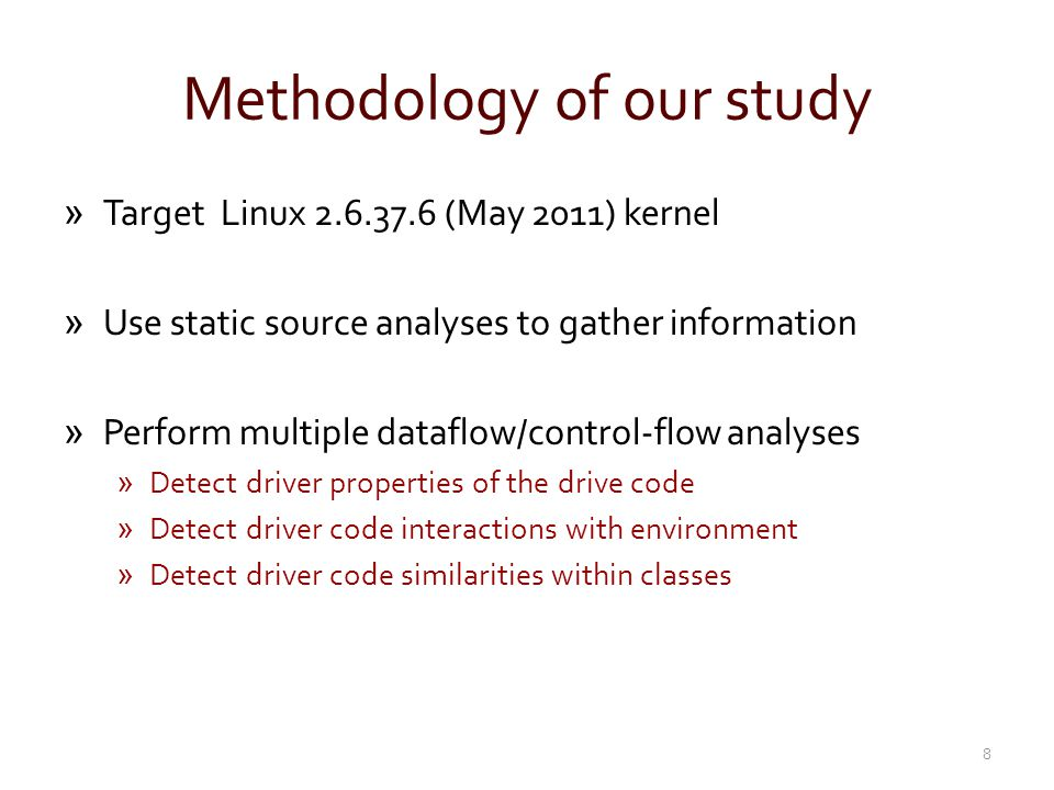 Methodology of our study