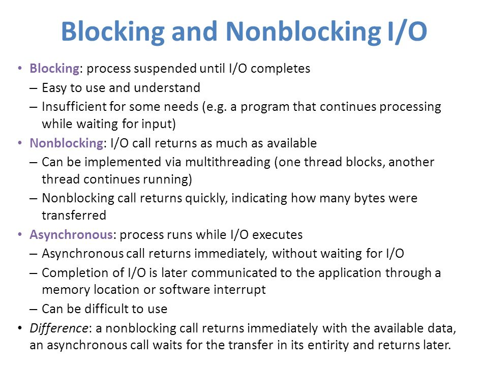 Blocking and Nonblocking I/O
