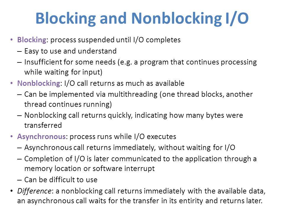 Blocking and Nonblocking I/O