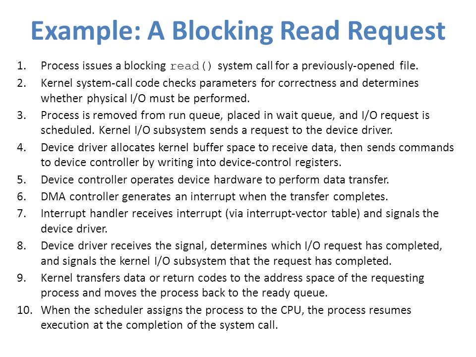 Example: A Blocking Read Request