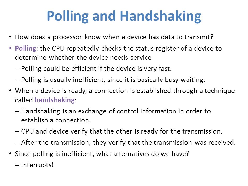 Polling and Handshaking