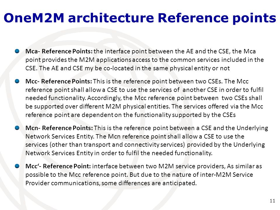 OneM2M architecture Reference points
