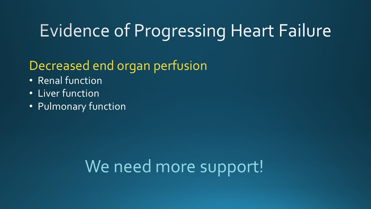 Evidence of Progressing Heart Failure