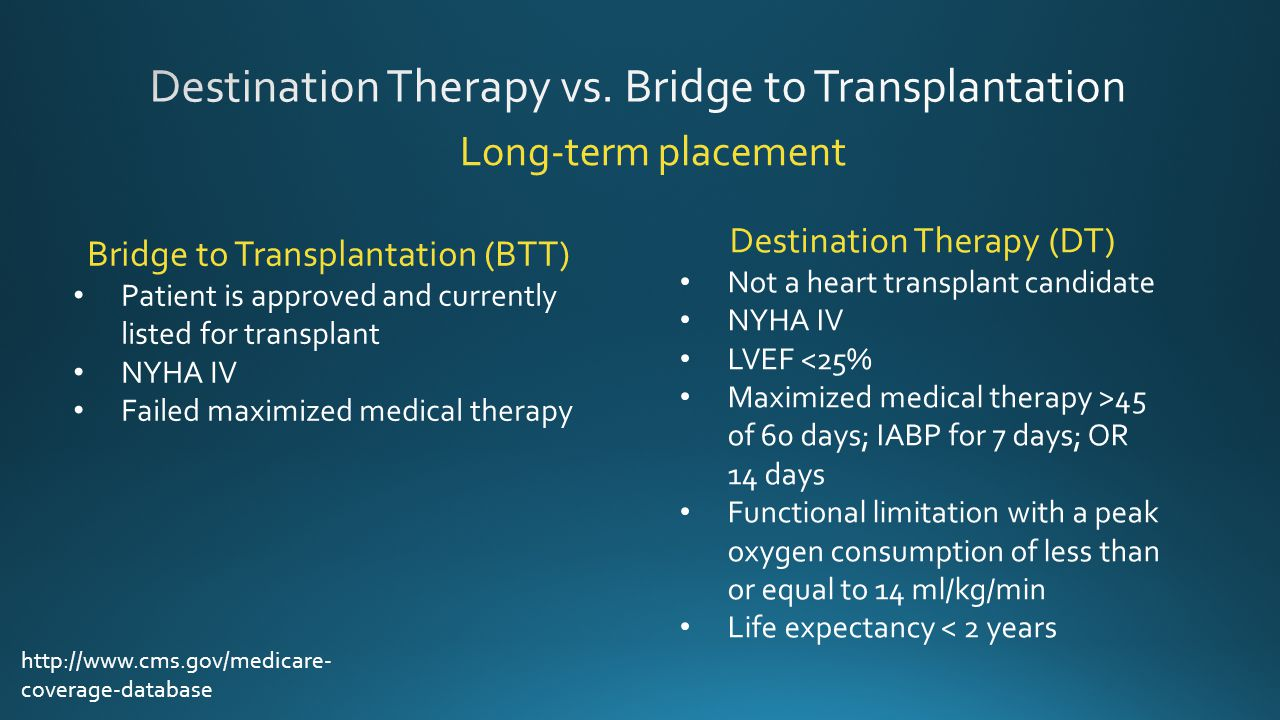 Destination Therapy vs. Bridge to Transplantation