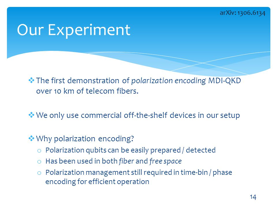 arXiv: 1306.6134 Our Experiment. The first demonstration of polarization encoding MDI-QKD over 10 km of telecom fibers.