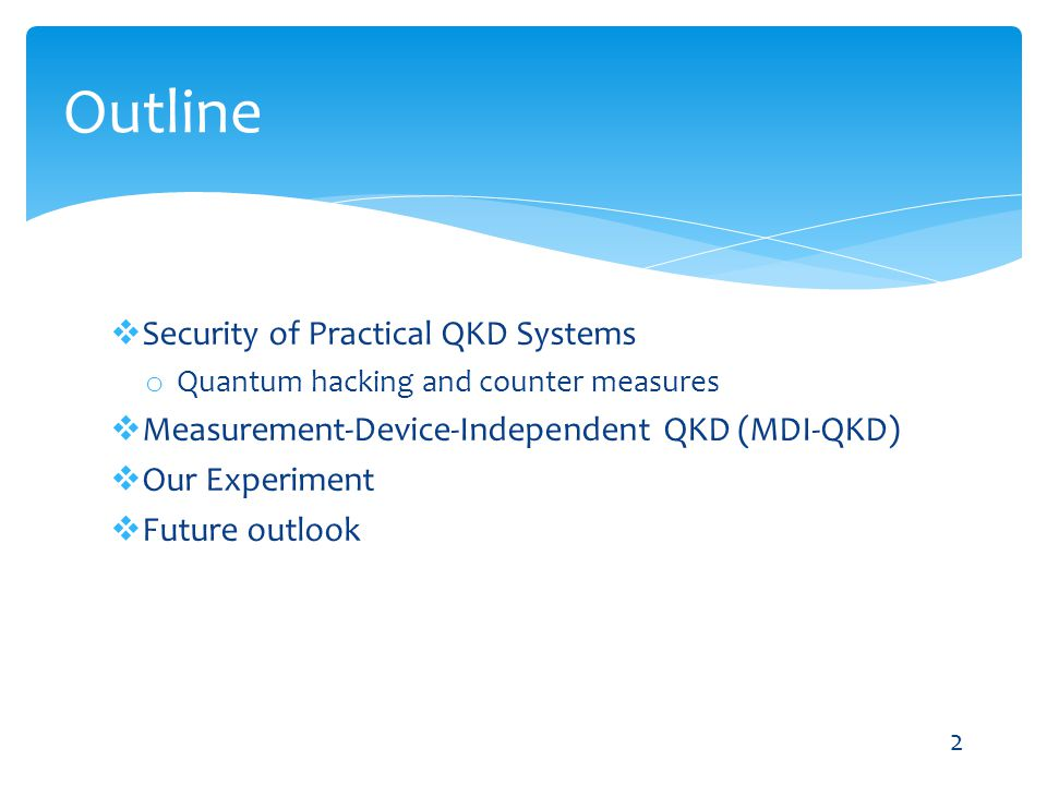 Outline Security of Practical QKD Systems