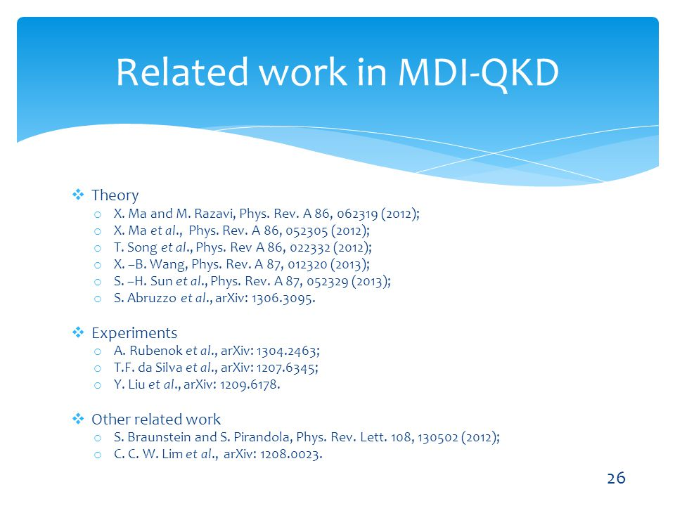 Related work in MDI-QKD