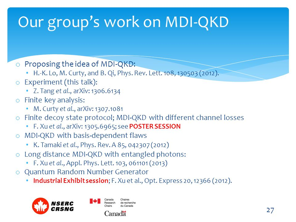 Our group's work on MDI-QKD