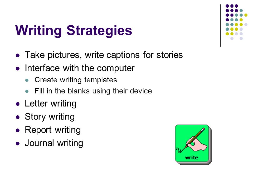 Writing Strategies Take pictures, write captions for stories