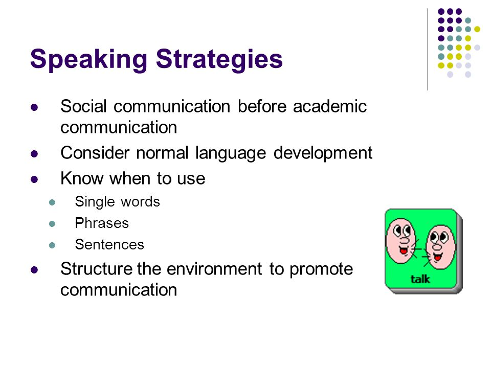 Speaking Strategies Social communication before academic communication