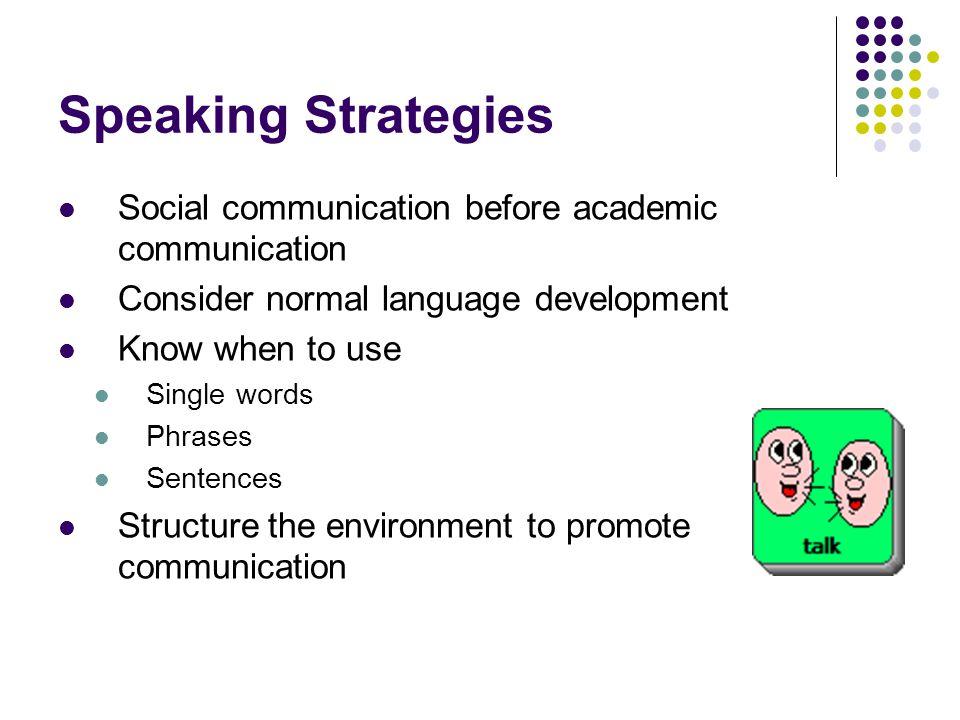 Speaking Strategies Social communication before academic communication