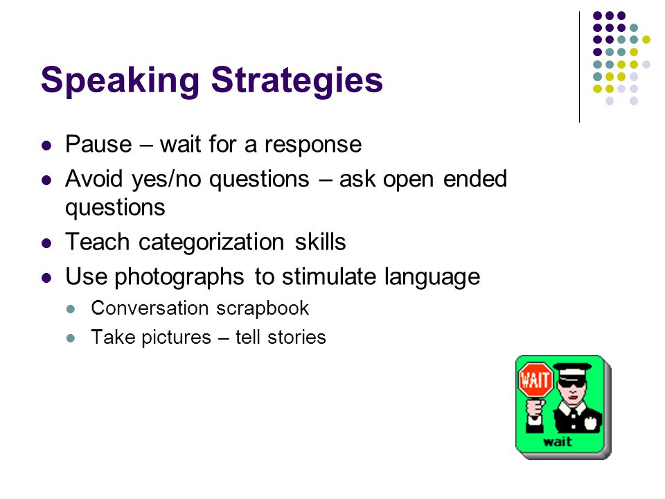 Speaking Strategies Pause – wait for a response