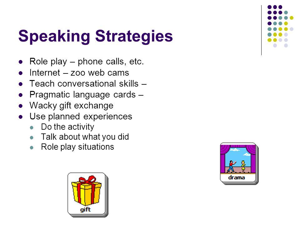 Speaking Strategies Role play – phone calls, etc.