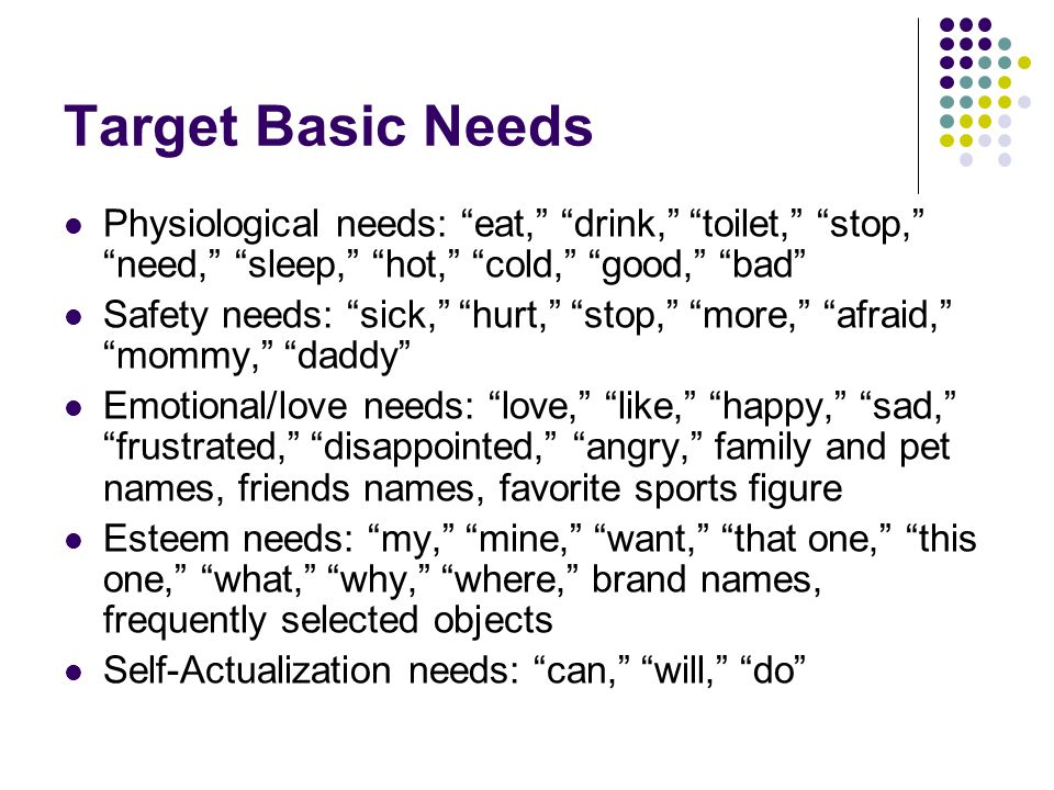 Target Basic Needs Physiological needs: eat, drink, toilet, stop, need, sleep, hot, cold, good, bad