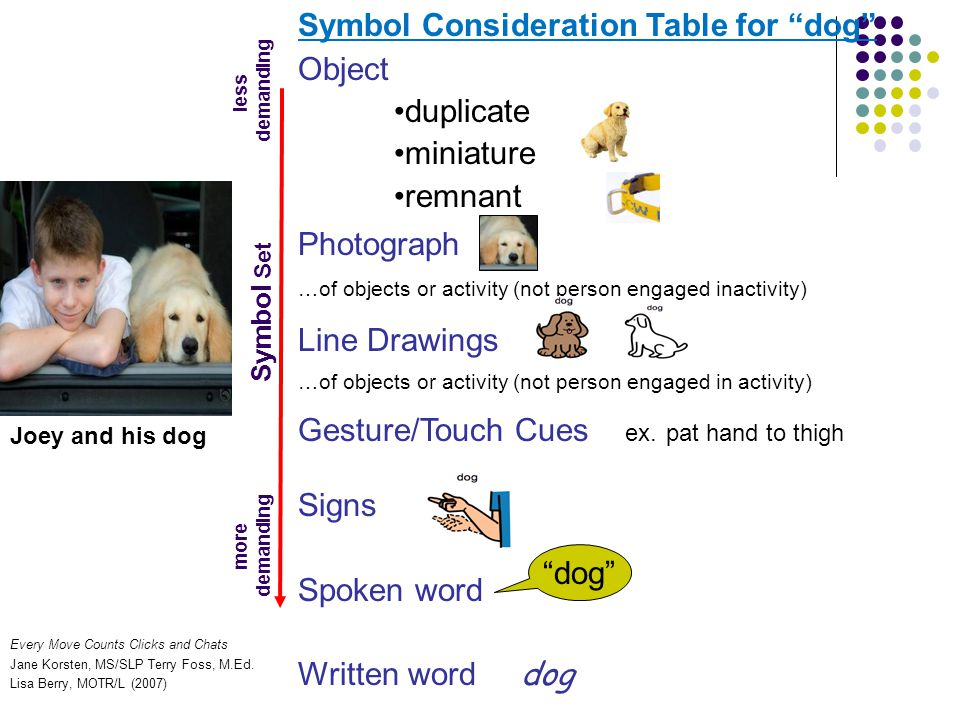 Symbol Consideration Table for dog Object •duplicate •miniature