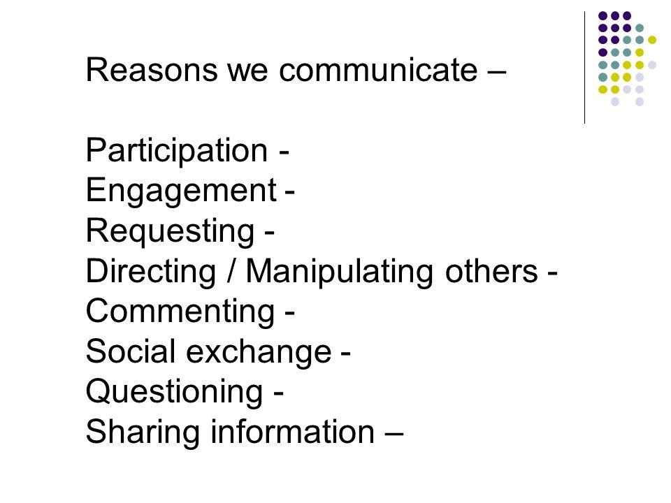 Reasons we communicate –