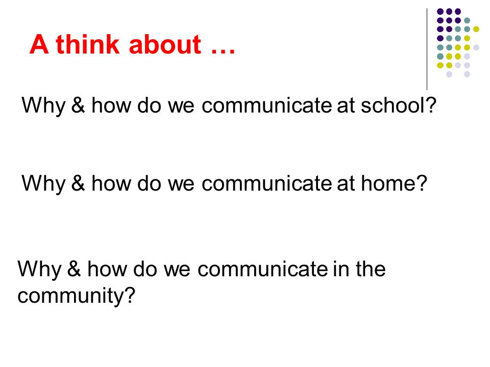 A think about … Why & how do we communicate at school