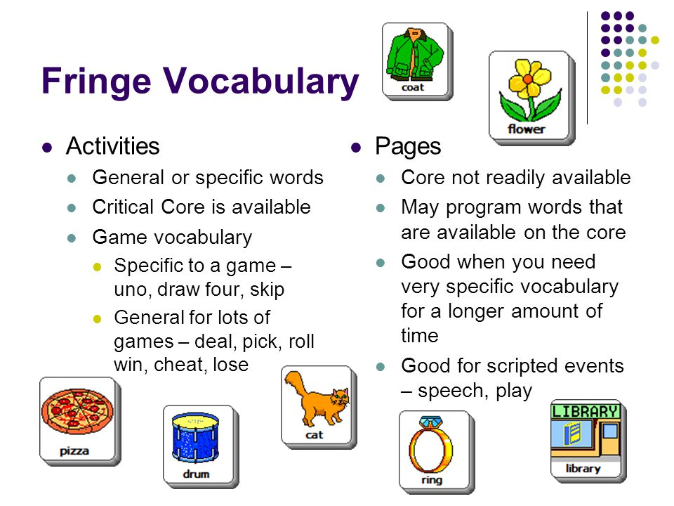 Fringe Vocabulary Activities Pages General or specific words