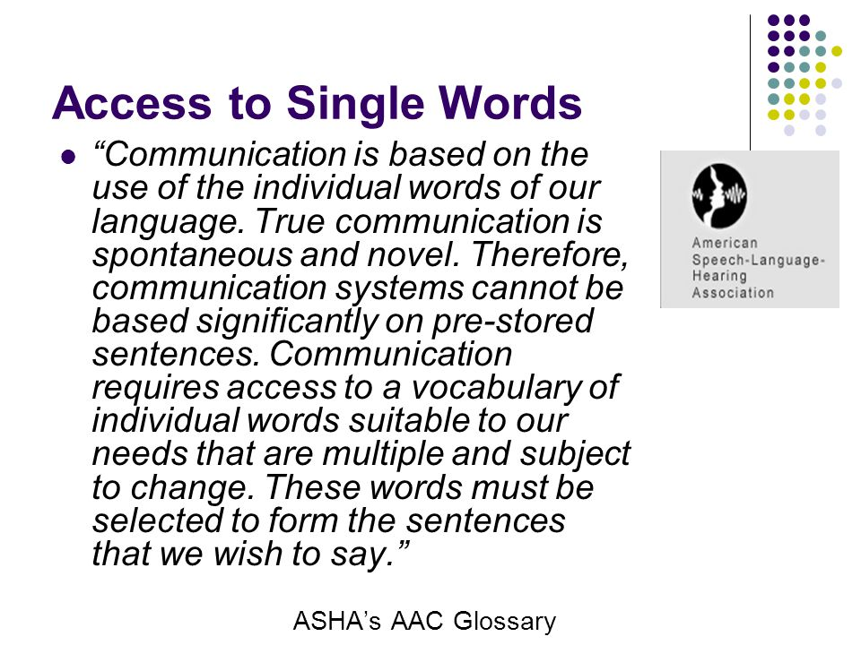 Access to Single Words