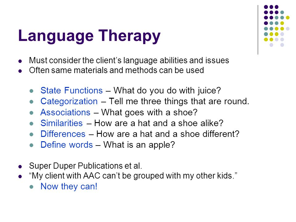 Language Therapy State Functions – What do you do with juice