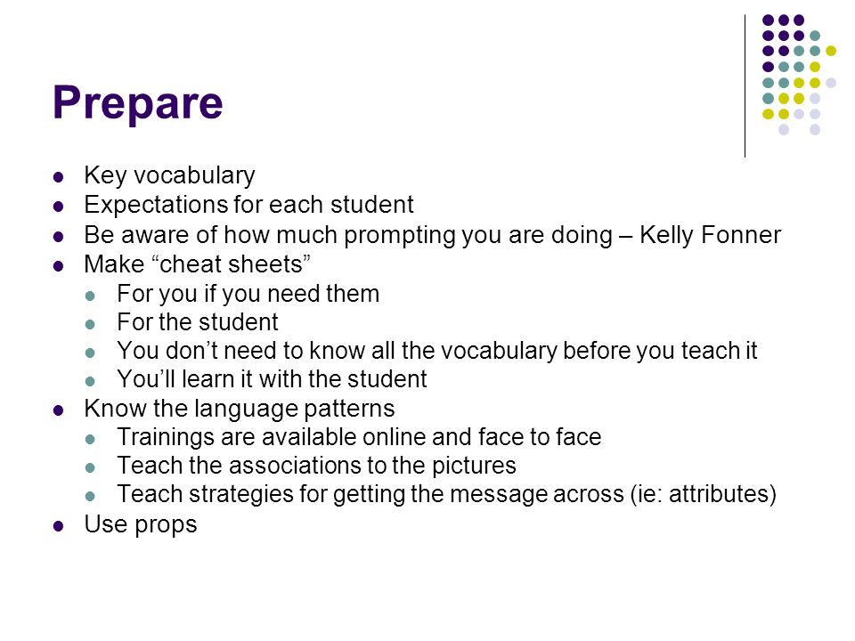 Prepare Key vocabulary Expectations for each student