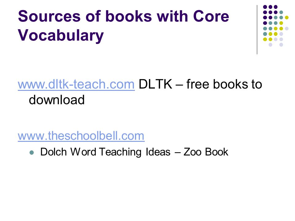 Sources of books with Core Vocabulary