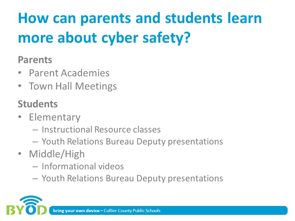 How can parents and students learn more about cyber safety