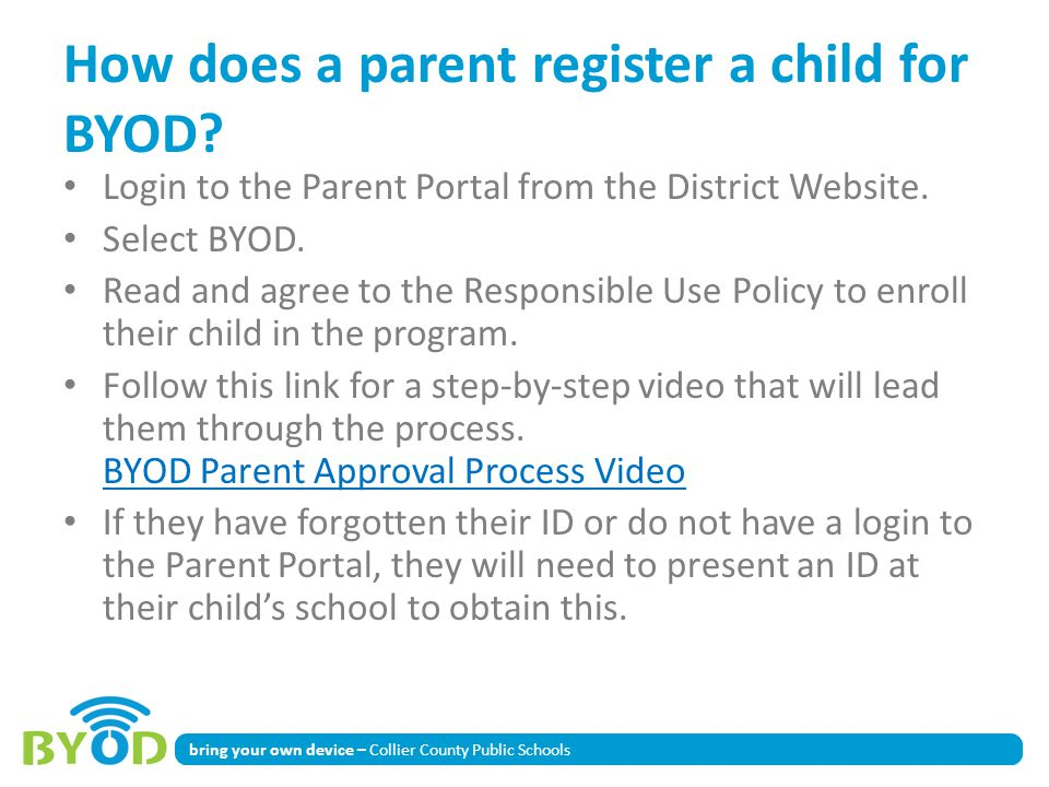 How does a parent register a child for BYOD