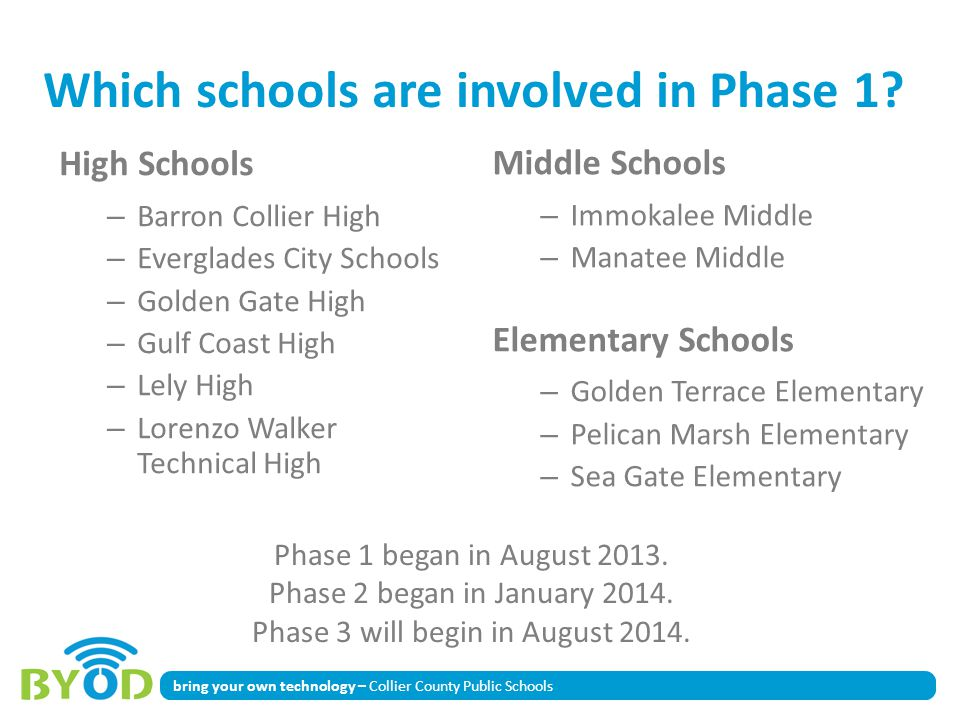 Which schools are involved in Phase 1