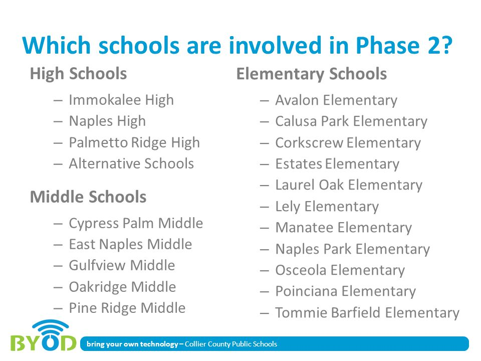 Which schools are involved in Phase 2