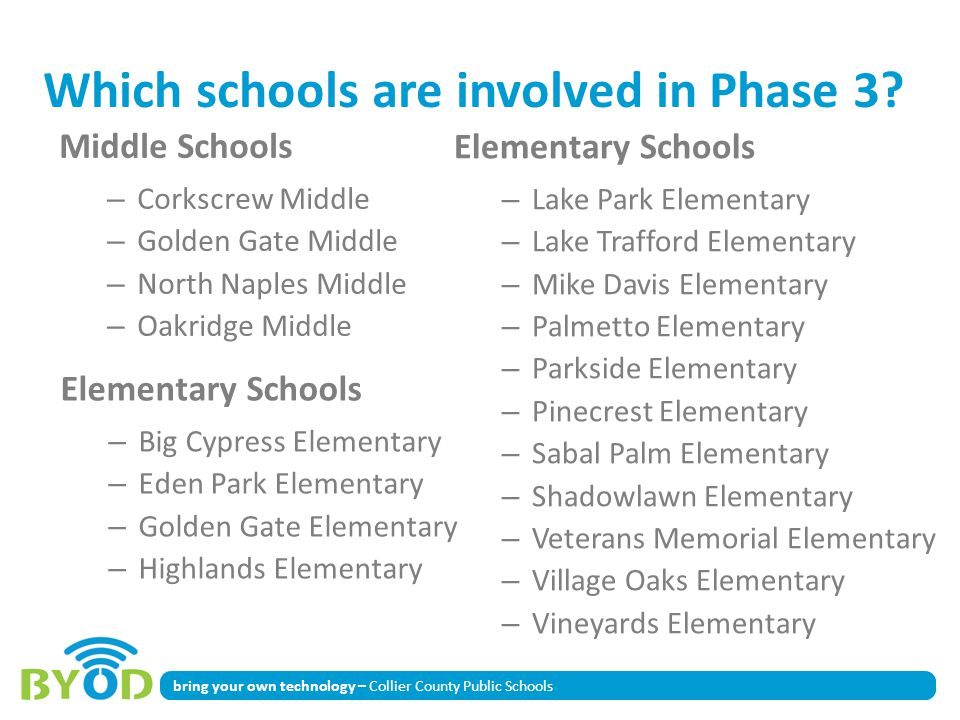 Which schools are involved in Phase 3