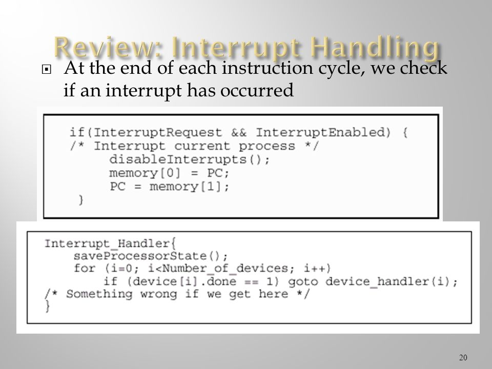 Review: Interrupt Handling