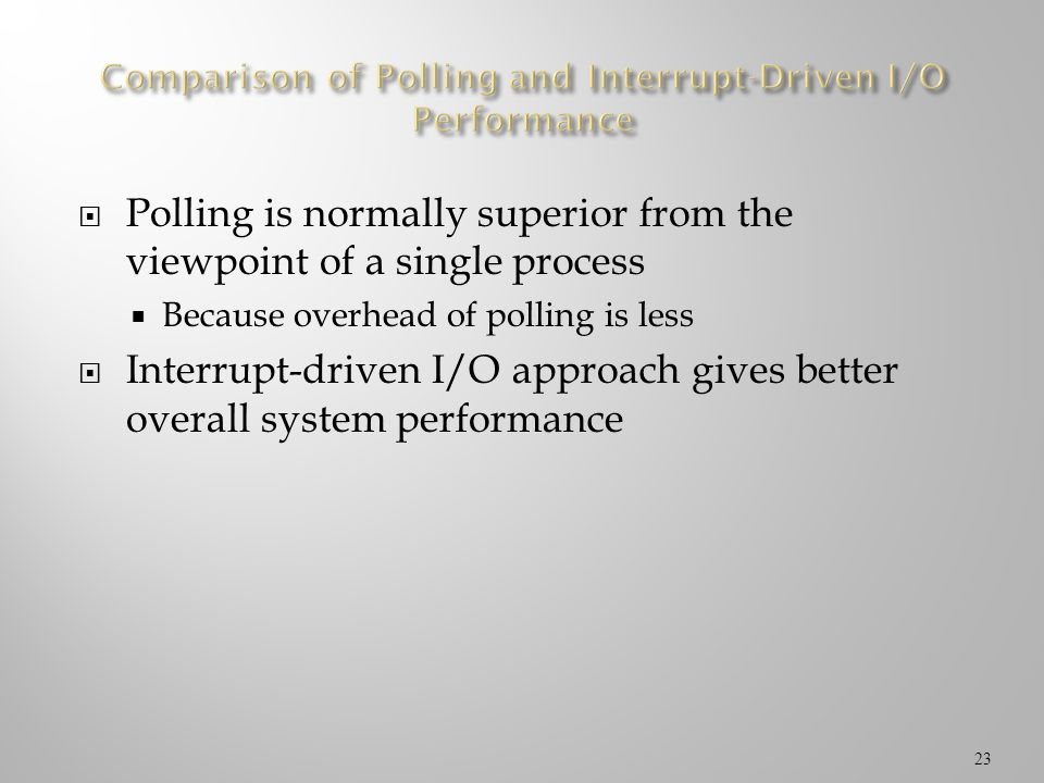 Comparison of Polling and Interrupt-Driven I/O Performance