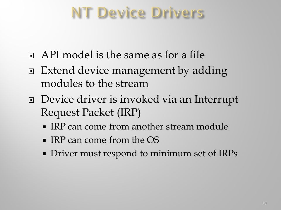 NT Device Drivers API model is the same as for a file