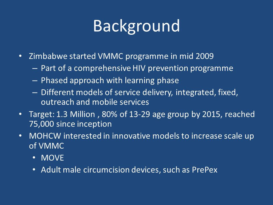Background Zimbabwe started VMMC programme in mid 2009
