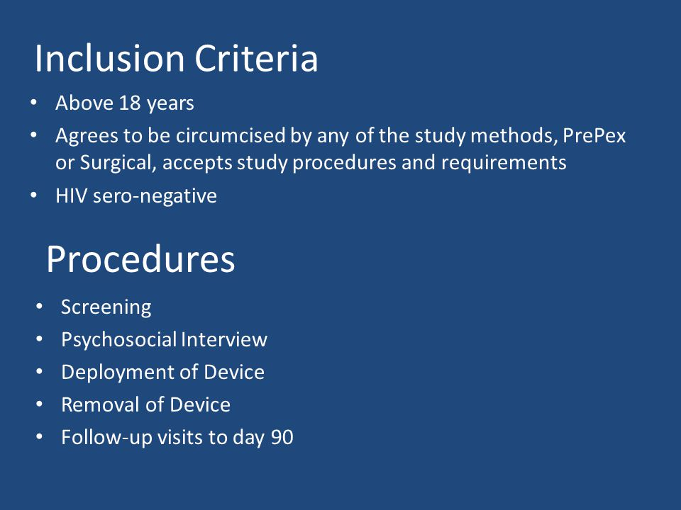 Inclusion Criteria Procedures Above 18 years