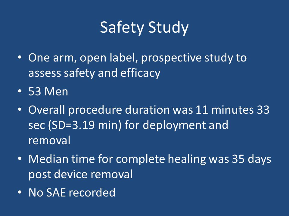 Safety Study One arm, open label, prospective study to assess safety and efficacy. 53 Men.