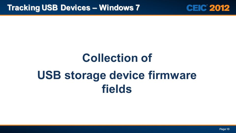 Collection of USB storage device firmware fields