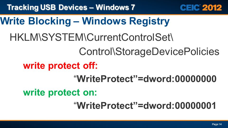 Write Blocking – Windows Registry