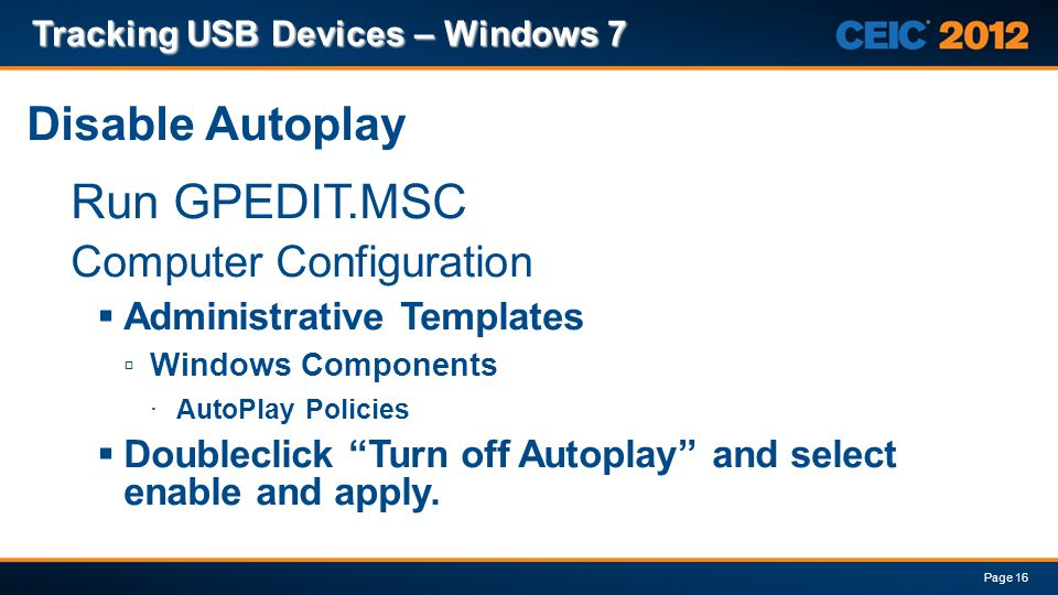 Tracking usb devices windows 7 ppt download for Computer configuration administrative templates