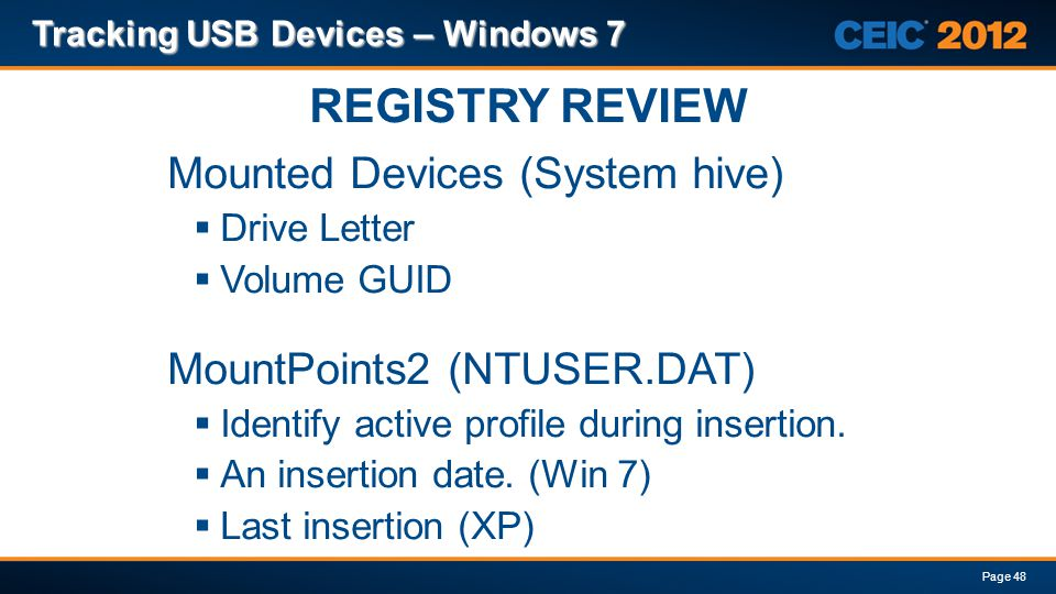 REGISTRY REVIEW Mounted Devices (System hive)