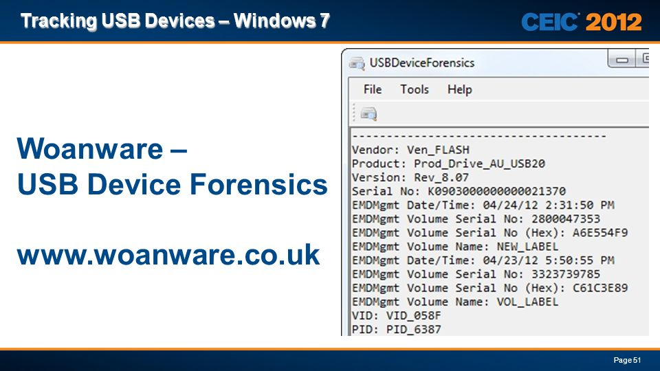 Woanware – USB Device Forensics www.woanware.co.uk