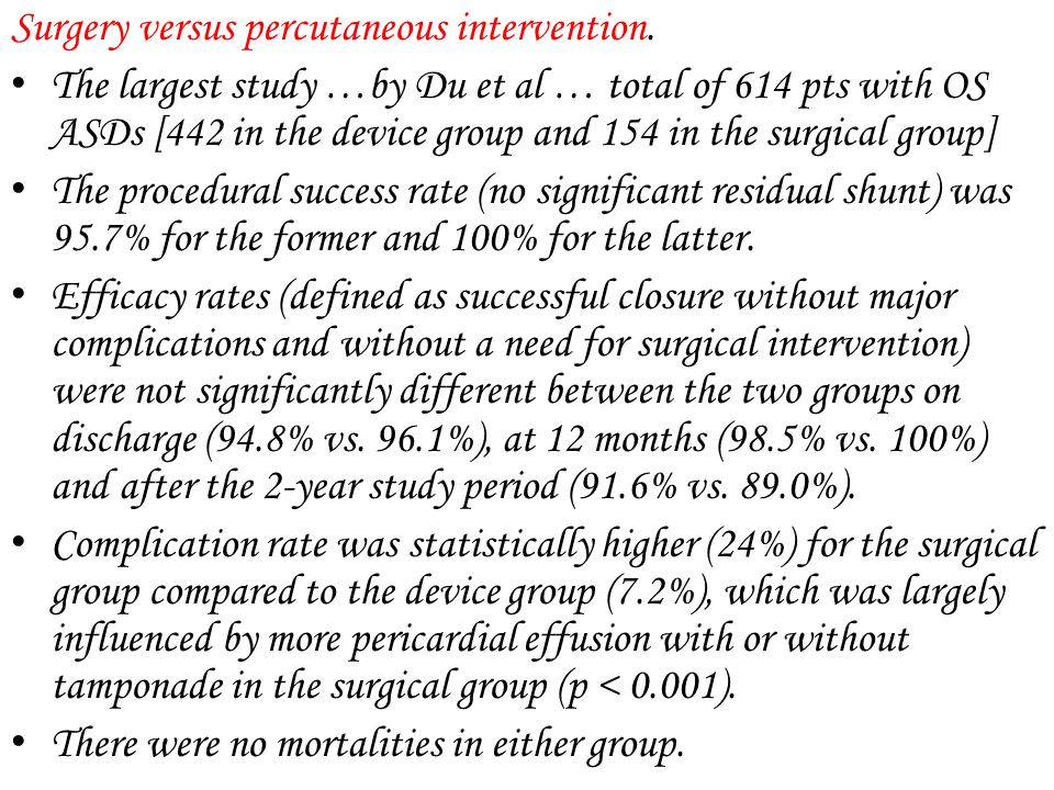 Surgery versus percutaneous intervention.