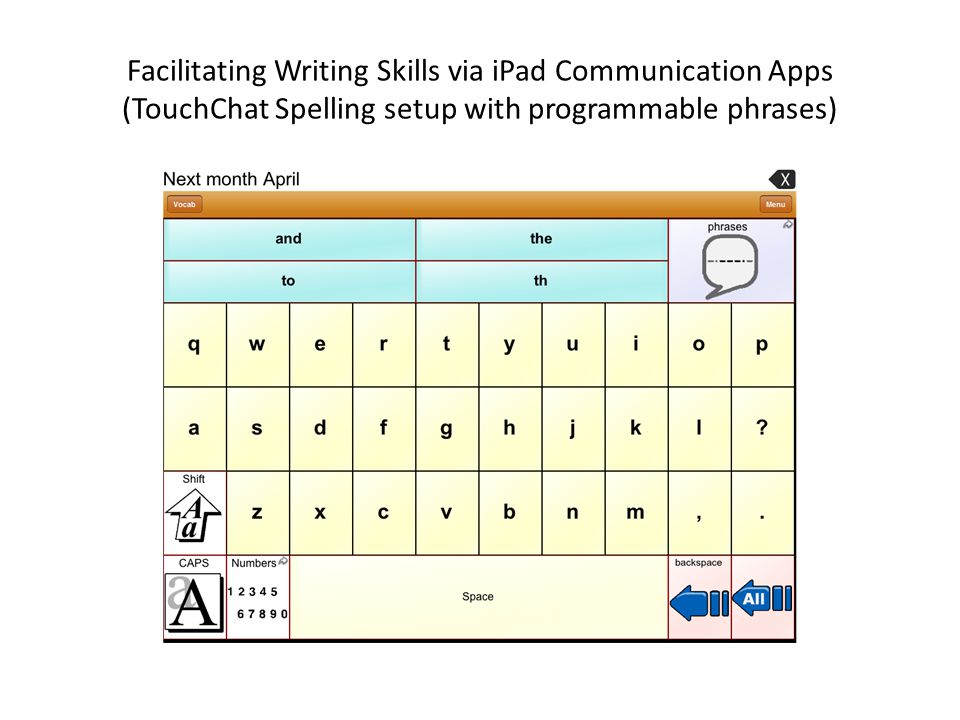 Facilitating Writing Skills via iPad Communication Apps (TouchChat Spelling setup with programmable phrases)
