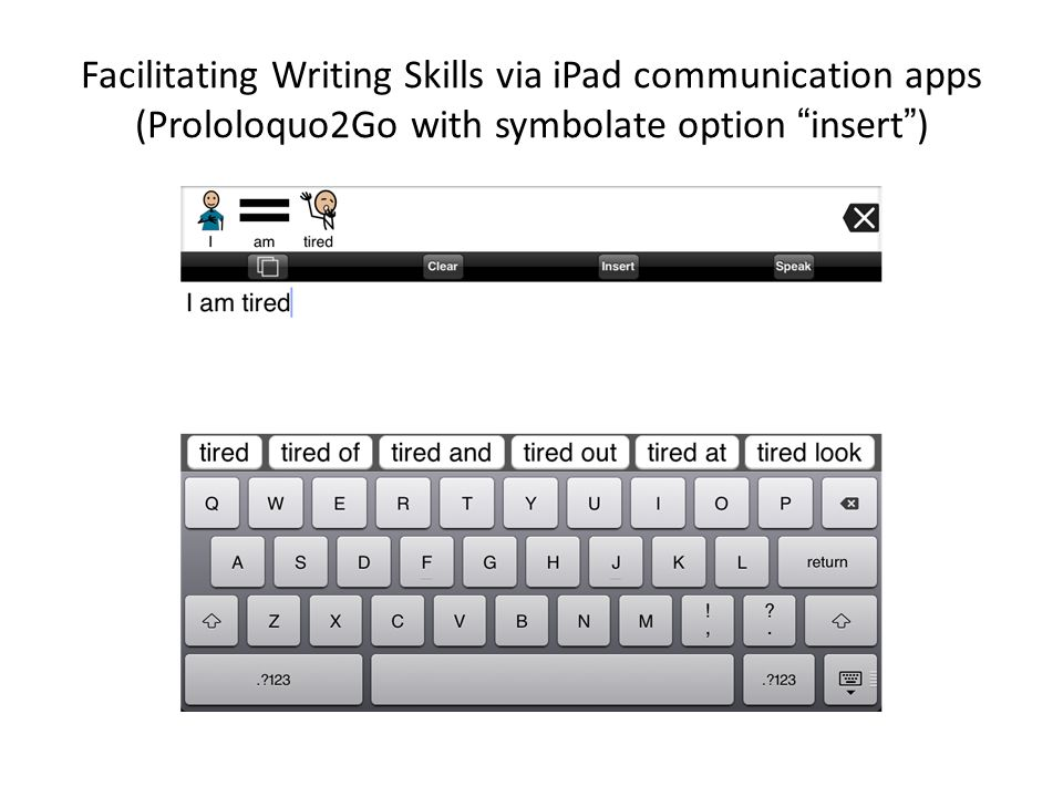Facilitating Writing Skills via iPad communication apps (Prololoquo2Go with symbolate option insert )