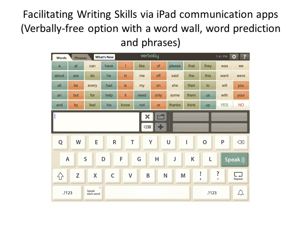Facilitating Writing Skills via iPad communication apps (Verbally-free option with a word wall, word prediction and phrases)