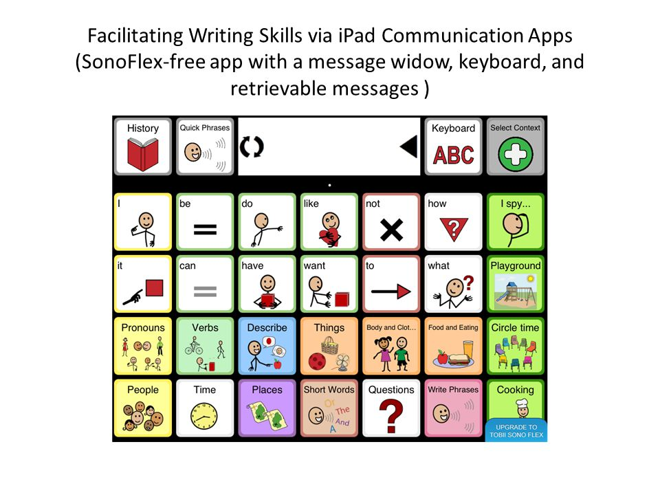 Facilitating Writing Skills via iPad Communication Apps (SonoFlex-free app with a message widow, keyboard, and retrievable messages )
