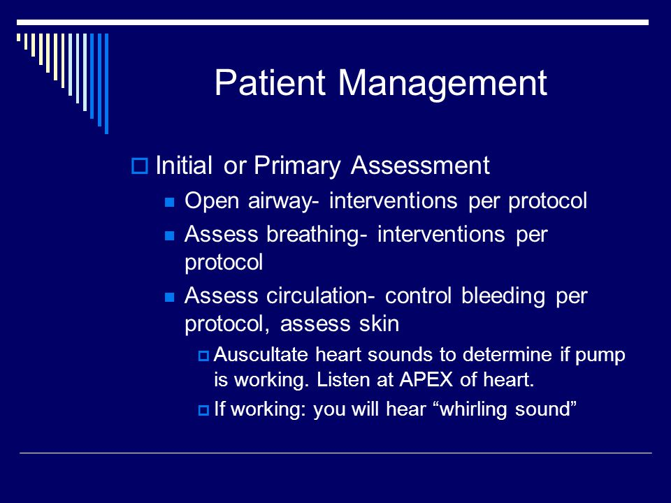 Patient Management Initial or Primary Assessment