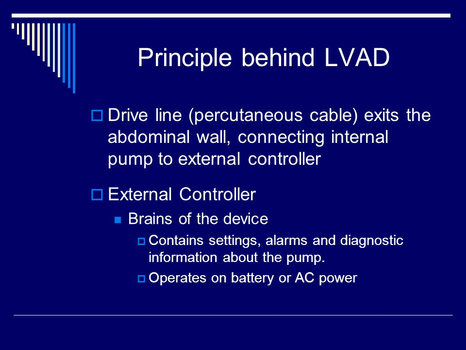 Principle behind LVAD Drive line (percutaneous cable) exits the abdominal wall, connecting internal pump to external controller.